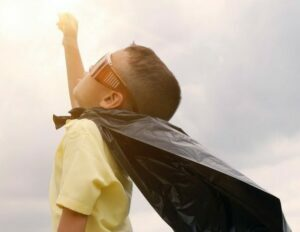 Boy with cape