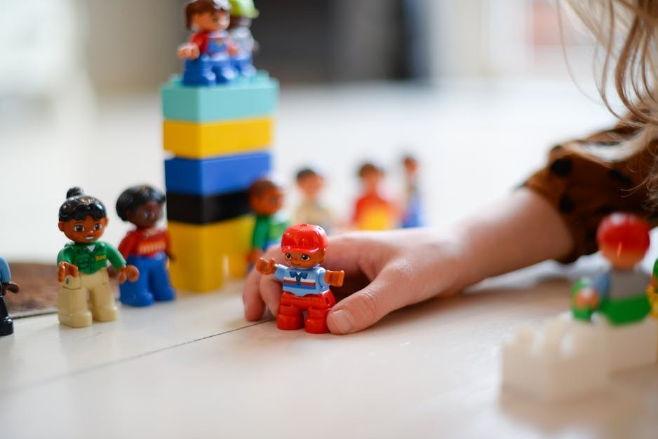 Child playing with blocks