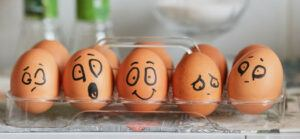 emotions on boiled eggs