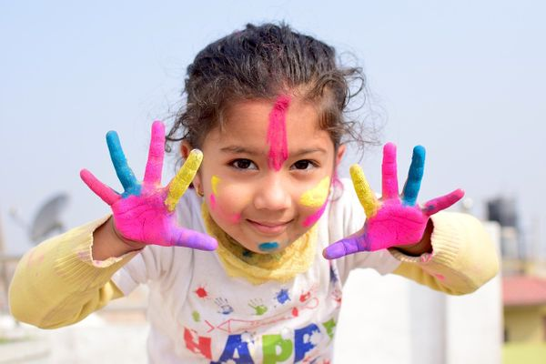 Home Activities for Kids-girl finger painting