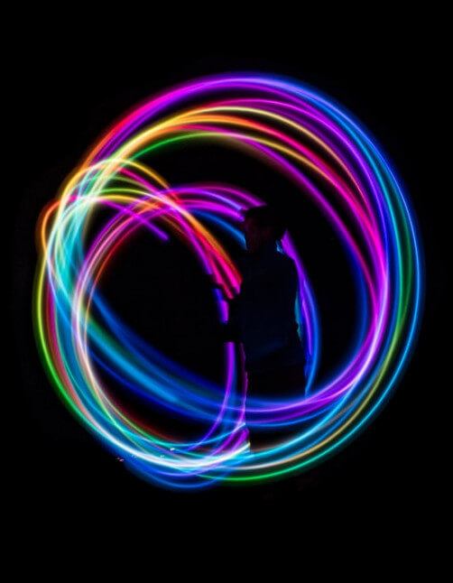 31 Remarkably Creative Activities For Kids- glow stick hula hoops