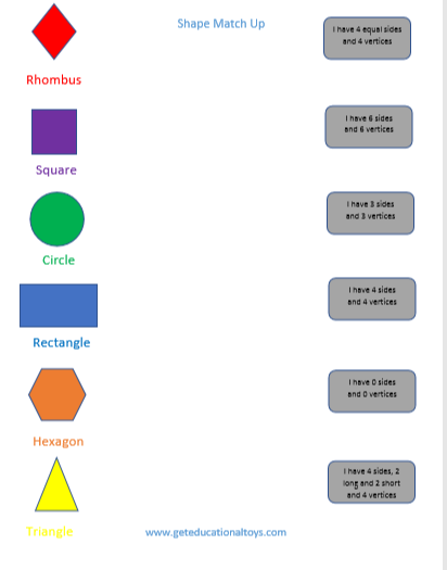things to do with shapes for kids- shape match up