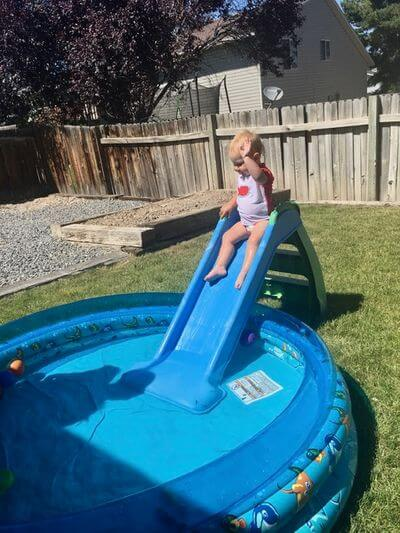 water toys for kids- slide and inflatable pool