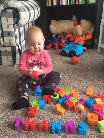 home activities for toddlers- stacking letters