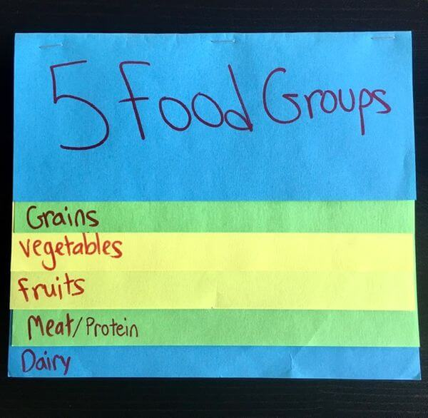 how to make a foldable- 5 food groups