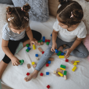 Teaching colors to toddlers- toddlers playing