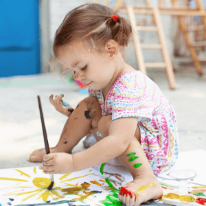Teaching colors to toddlers- painting
