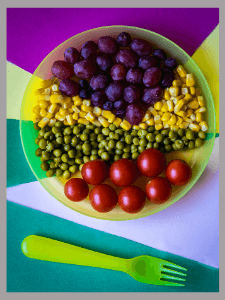 Teaching colors to toddlers- colorful food
